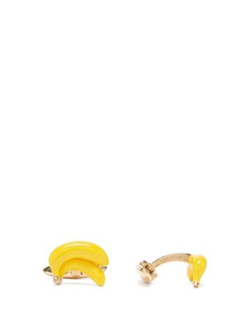 Matchesfashion.com Bottega Veneta - Banana 18kt Gold-plated Cufflinks - Mens - Yellow