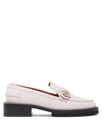 Matchesfashion.com Ganni - Crystal-embellished Leather Loafers - Womens - Light Pink