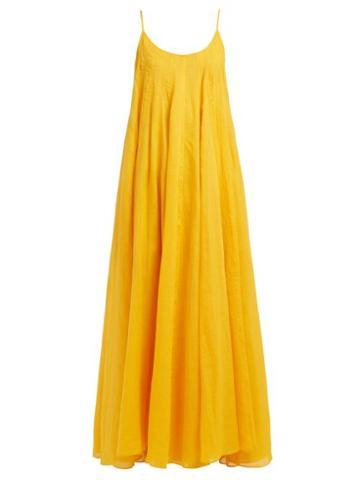 Matchesfashion.com Three Graces London - Mabelle Trapeze Maxi Dress - Womens - Yellow
