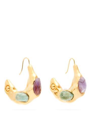 Matchesfashion.com Marni - Crystal-embellished Hoop Earrings - Womens - Multi