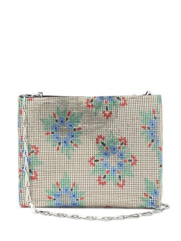 Matchesfashion.com Paco Rabanne - Pixel Floral-print Chainmail Shoulder Bag - Womens - Gold Multi