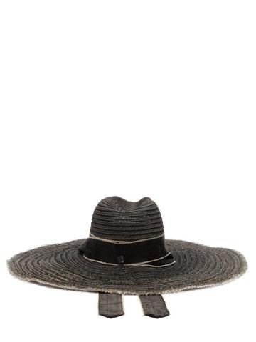 Matchesfashion.com Fil Hats - Mauritius Raw Edged Straw Hat - Womens - Black