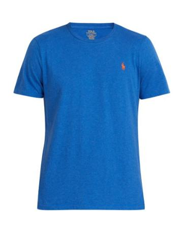 Matchesfashion.com Polo Ralph Lauren - Logo Embroidered Cotton Jersey T Shirt - Mens - Indigo