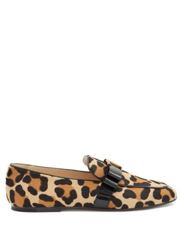 Matchesfashion.com Tod's - T-bar Leopard-print Calf-hair Loafers - Womens - Leopard