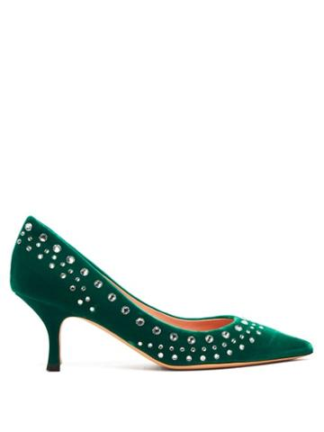 Matchesfashion.com Rochas - Crystal Embellished Green Velvet Pumps - Womens - Green
