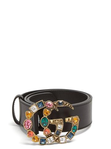 Gucci Crystal-embellished Gg-logo Leather Belt