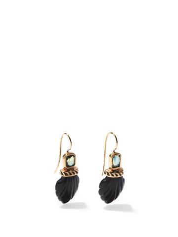 Matchesfashion.com Dezso - Deco Sapphire, Onyx & 18kt Rose-gold Earrings - Womens - Black