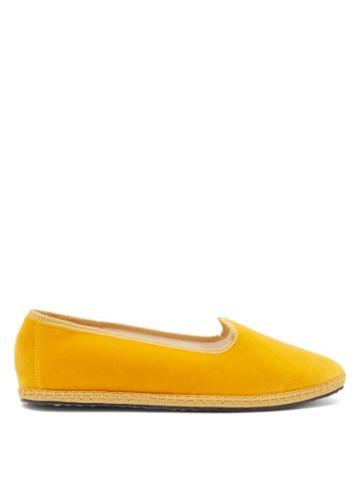 Matchesfashion.com Vibi Venezia - Whipstitched Velvet Furlane Slippers - Womens - Dark Yellow