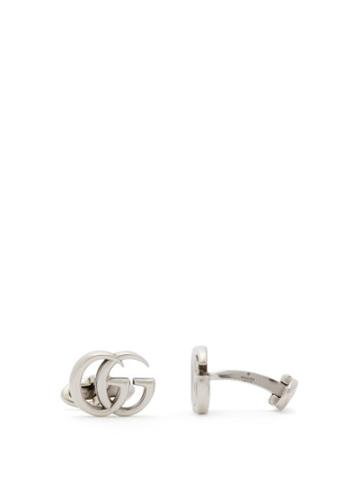 Matchesfashion.com Gucci - Gg Logo Sterling Silver Cufflinks - Mens - Silver