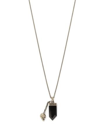 Matchesfashion.com Alexander Mcqueen - Crystal And Skull-pendants Metal Necklace - Mens - Silver