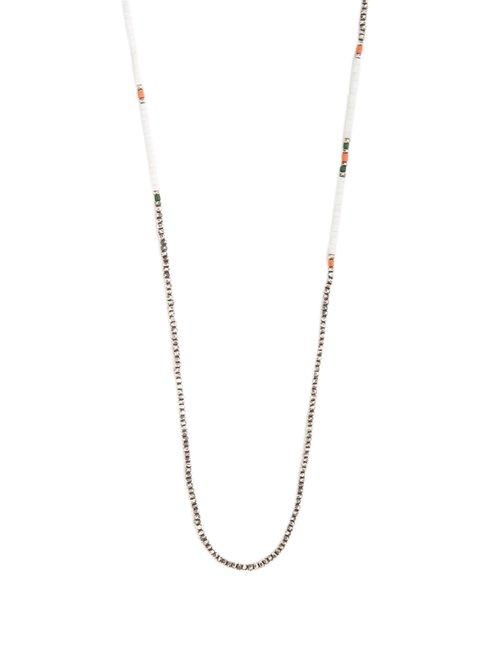 Matchesfashion.com M Cohen - Bead Embellished Silver Necklace - Mens - Silver Multi