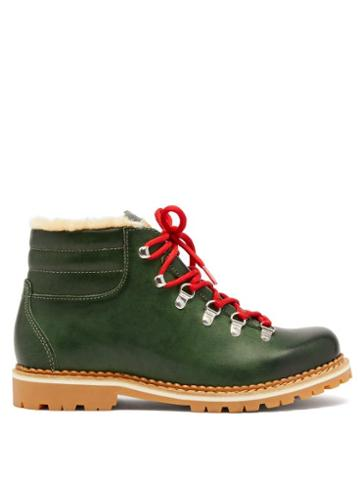 Matchesfashion.com Montelliana - Marlena Leather And Shearling Hiking Boots - Womens - Dark Green
