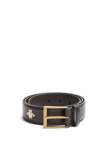Gucci Star And Bee-print Leather Belt