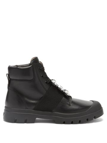 Roger Vivier - Walky Viv Crystal-buckle Leather Ankle Boots - Womens - Black