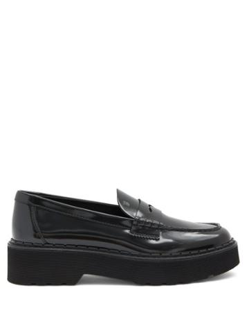 Matchesfashion.com Tod's - Flatform Patent-leather Penny Loafers - Womens - Black