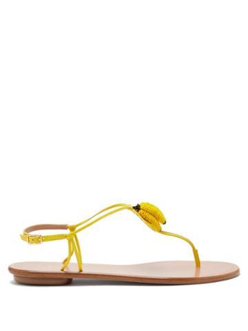 Matchesfashion.com Aquazzura - Bananita Beaded Leather Sandals - Womens - Yellow