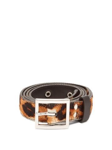 Matchesfashion.com Amiri - Leopard Print Calf Hair Belt - Mens - Brown