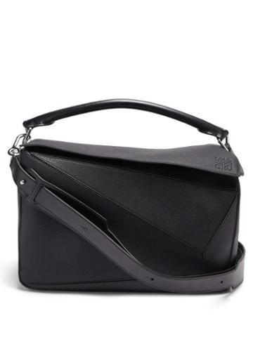 Matchesfashion.com Loewe - Puzzle Large Grained-leather Messenger Bag - Mens - Black