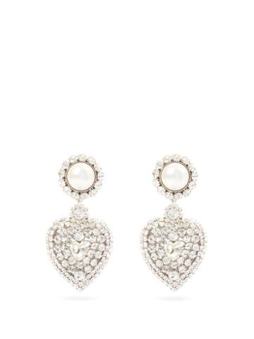 Matchesfashion.com Alessandra Rich - Faux-pearl & Crystal Heart Clip Earrings - Womens - Crystal