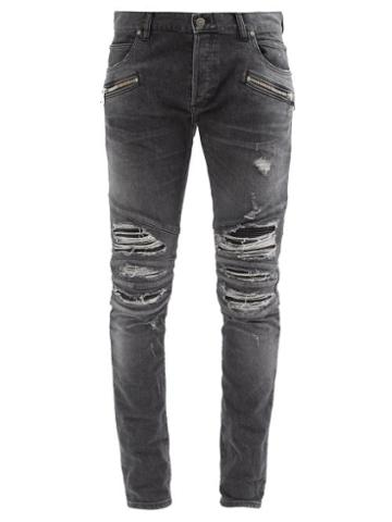 Matchesfashion.com Balmain - Faux Leather-inset Distressed Skinny Jeans - Mens - Black