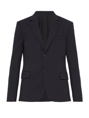 Matchesfashion.com Raey - Single Breasted Seersucker Stretch Wool Blazer - Mens - Navy