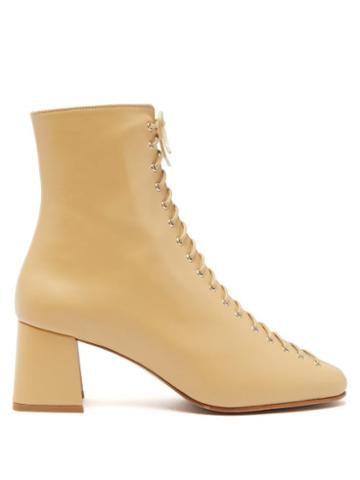Matchesfashion.com By Far - Becca Lace Up Leather Ankle Boots - Womens - Cream