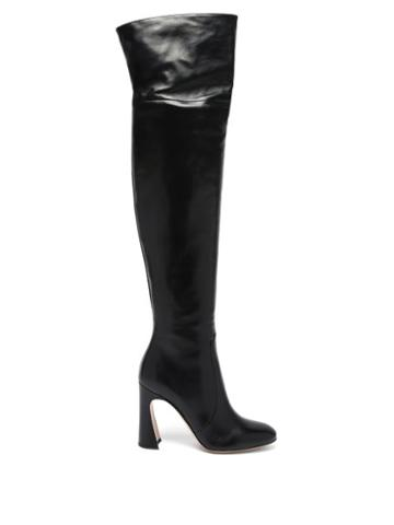 Matchesfashion.com Gianvito Rossi - Curve-heel 100 Leather Knee-high Boots - Womens - Black