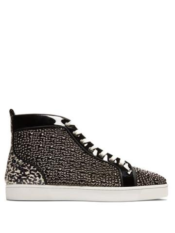 Matchesfashion.com Christian Louboutin - Louis Orlato High Top Patent Leather Trainers - Mens - Black Multi