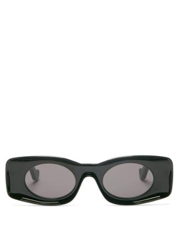 Matchesfashion.com Loewe Paula's Ibiza - Rectangle Oval Acetate Sunglasses - Womens - Black