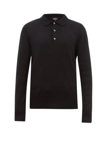 Matchesfashion.com A.p.c. - Harold Long Sleeve Knitted Polo Shirt - Mens - Black