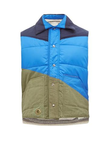 Matchesfashion.com Greg Lauren - Panelled Quilted Shell Gilet - Mens - Blue Multi