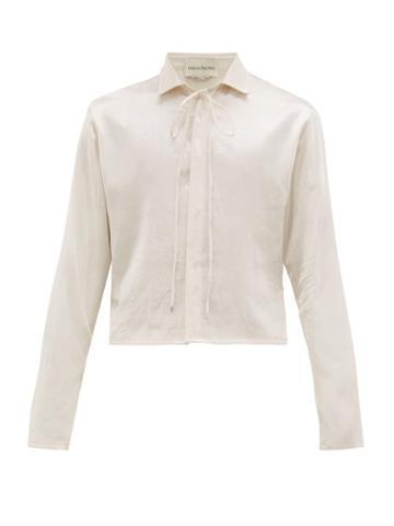 Matchesfashion.com Ludovic De Saint Sernin - Cropped Hem Drawstring Neck Satin Shirt - Mens - White