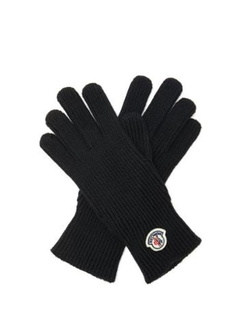 Matchesfashion.com Moncler - Logo-patch Rib-knitted Wool Gloves - Mens - Black