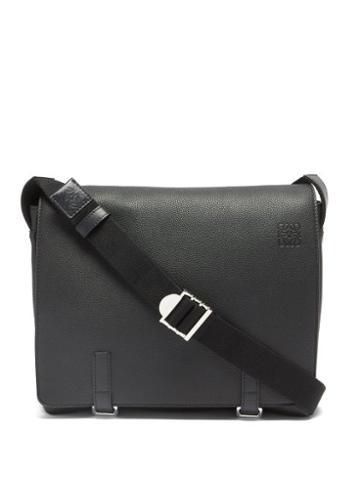Loewe - Military Leather Messenger Bag - Mens - Black