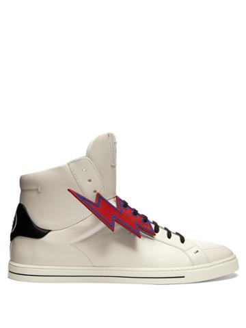 Fendi Faces High-top Leather Trainers
