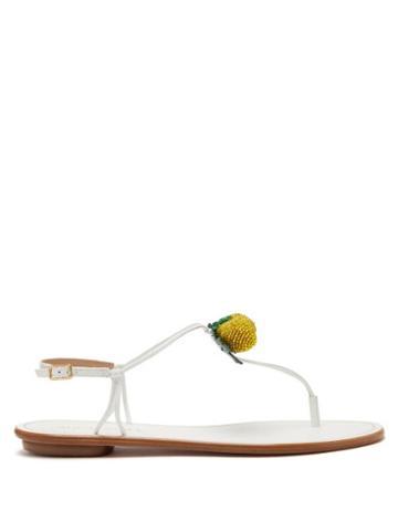 Matchesfashion.com Aquazzura - Limoncello Beaded Leather Sandals - Womens - White Multi
