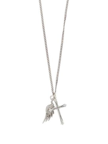 Matchesfashion.com Emanuele Bicocchi - Cross And Wing Charm Sterling-silver Necklace - Mens - Silver