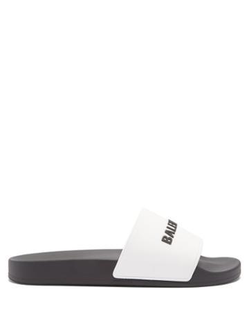 Balenciaga - Logo-embossed Rubber Slides - Mens - Black White