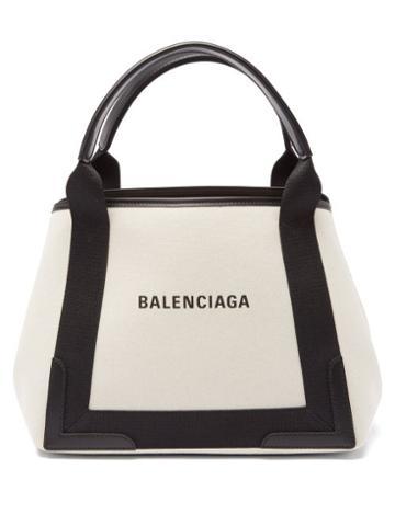 Balenciaga - Cabas S Logo-print Leather-trim Canvas Bag - Womens - Black Cream