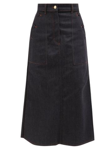 Erdem - Ardith Denim Midi Skirt - Womens - Denim