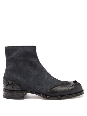 Matchesfashion.com Maison Margiela - Distressed Leather Ankle Boots - Mens - Black