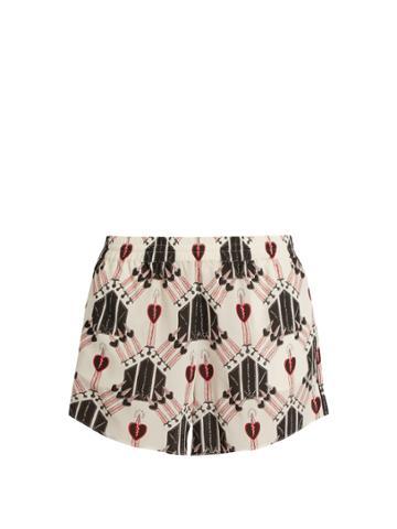 Valentino Love Blade-print Silk Shorts