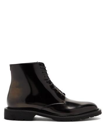 Matchesfashion.com Saint Laurent - Cesna Lace-up Patent-leather Boots - Womens - Black