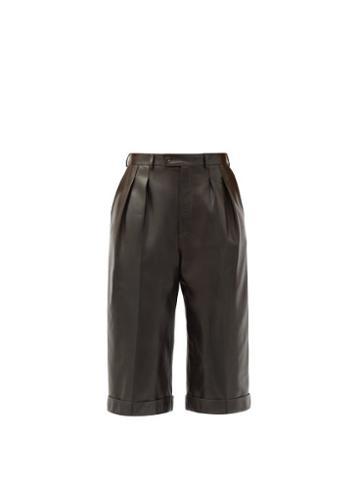 Matchesfashion.com Saint Laurent - High-rise Leather Bermuda Shorts - Womens - Brown
