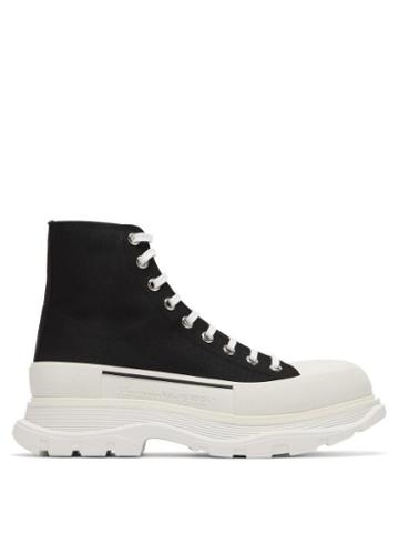 Matchesfashion.com Alexander Mcqueen - Chunky-sole Canvas Trainers - Mens - Black White