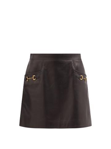 Gucci - Horsebit High-rise Leather Mini Skirt - Womens - Black