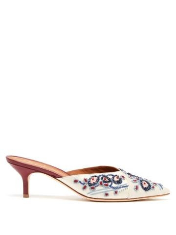 Matchesfashion.com Malone Souliers By Roy Luwolt - Portia Bead Embroidered Satin Mules - Womens - Blue Multi