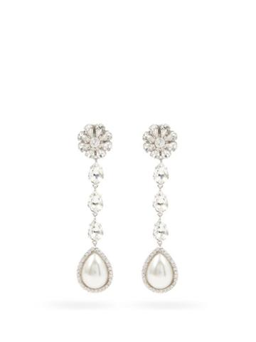 Matchesfashion.com Alessandra Rich - Crystal & Faux-pearl Drop Clip Earrings - Womens - Crystal