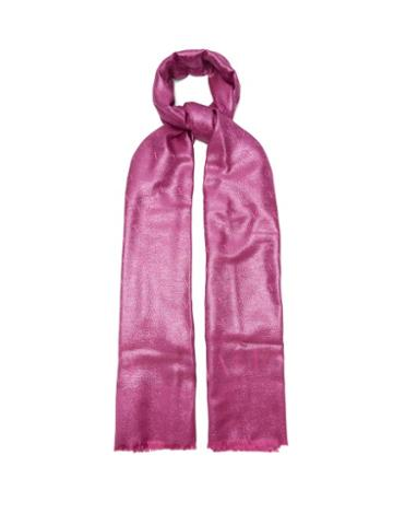 Matchesfashion.com Valentino Garavani - Logo-jacquard Twill Shawl - Womens - Pink