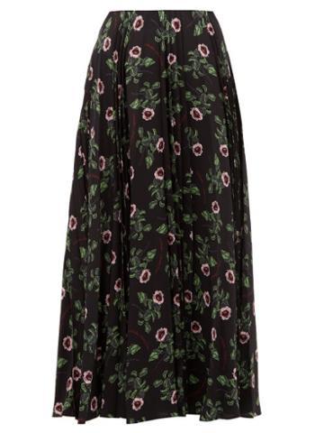 Matchesfashion.com Valentino - X Undercover Lip Floral Print Silk Midi Skirt - Womens - Black Multi